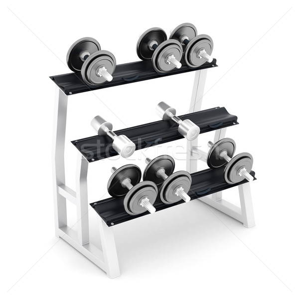 Foto d'archivio: Manubri · fitness · bianco · costruzione · sport · corpo