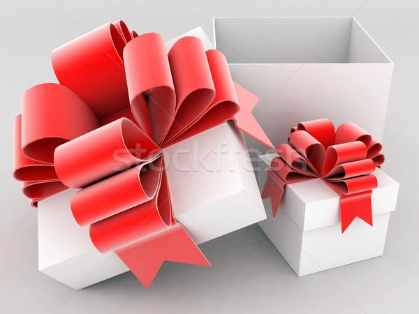 Belo caixa de presente arco vermelho branco Foto stock © mastergarry