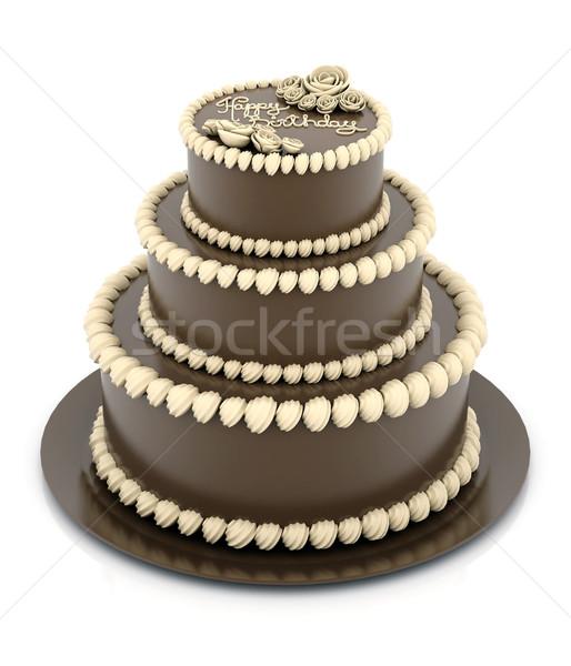 Belo bolo de noiva branco casamento amor aniversário Foto stock © mastergarry