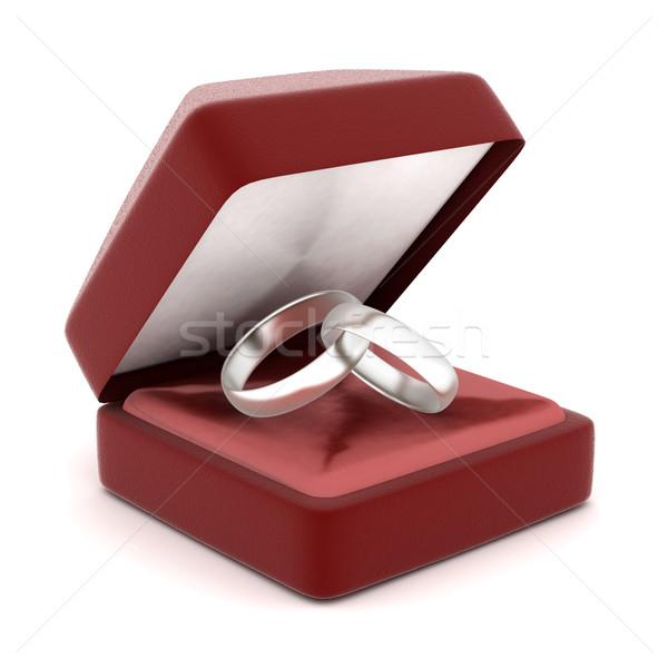 Anéis de casamento imagem caixa de presente branco amor beleza Foto stock © mastergarry