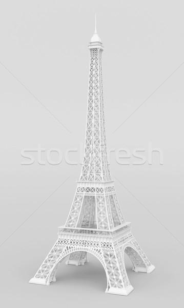 Branco Torre Eiffel cinza silhueta torre estrutura Foto stock © mastergarry