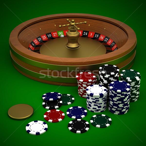 Rulett kaszinó zsetonok zöld asztal piros kaszinó Stock fotó © mastergarry