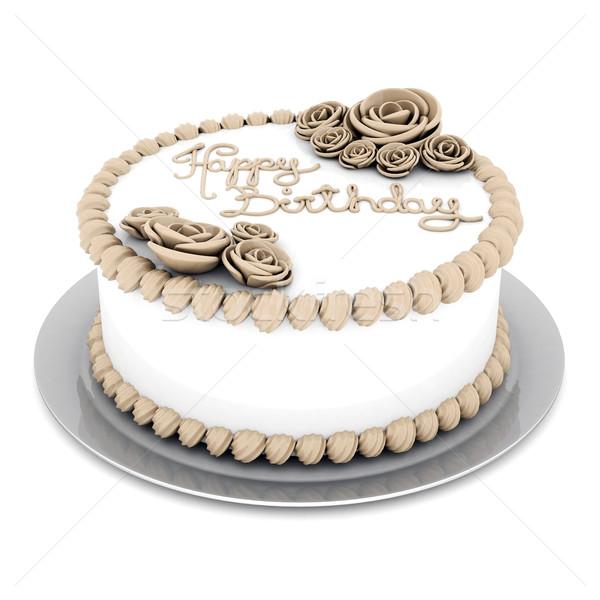 Belo bolo branco aniversário alimentação estúdio Foto stock © mastergarry