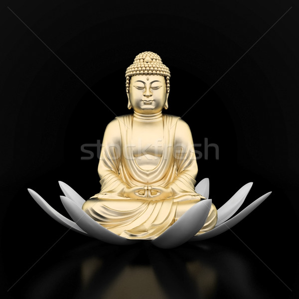 Oro estatua Buda imagen flor Foto stock © mastergarry