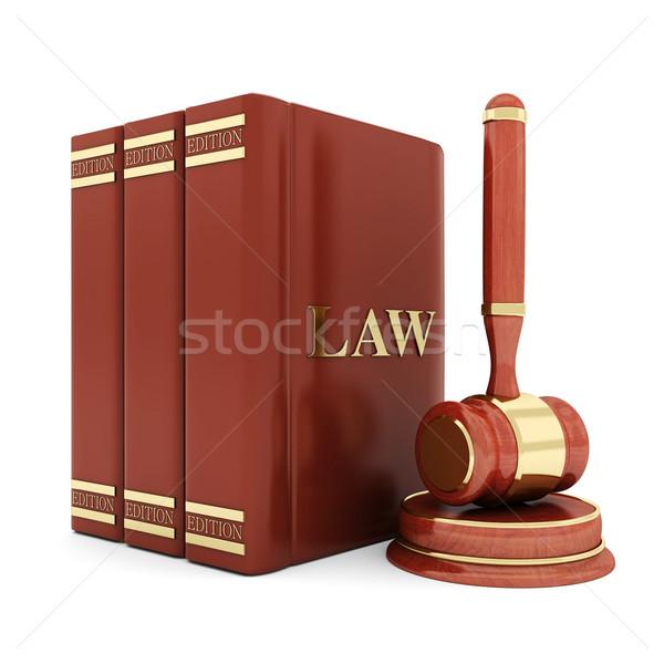 Foto stock: Belo · imagem · judicial · lei · biblioteca · martelo