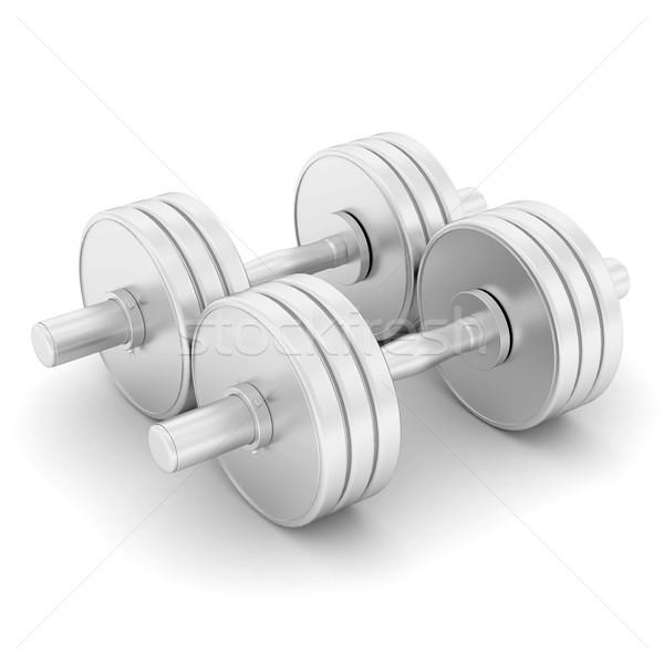 Halteres fitness branco edifício esportes corpo Foto stock © mastergarry