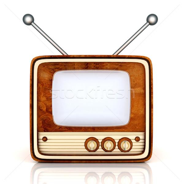 Foto stock: Velho · tv · imagem · branco · televisão · fundo