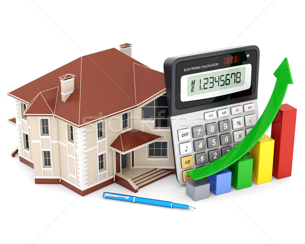 house, calculator and pen Stock photo © mastergarry
