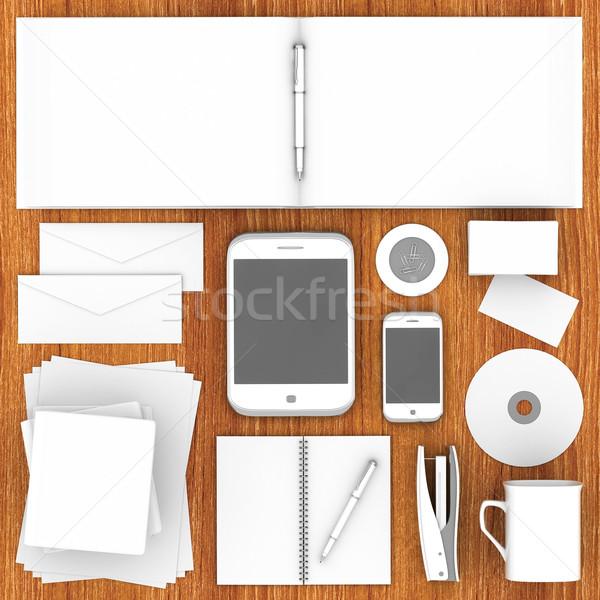 Corporativo identidade modelo madeira papel livro Foto stock © mastergarry