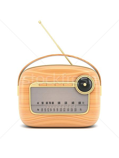 Retro radyo resim beyaz müzik Stok fotoğraf © mastergarry