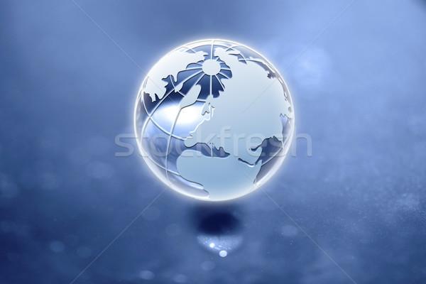 Globo incrível fantástico luz azul preto Foto stock © mastergarry