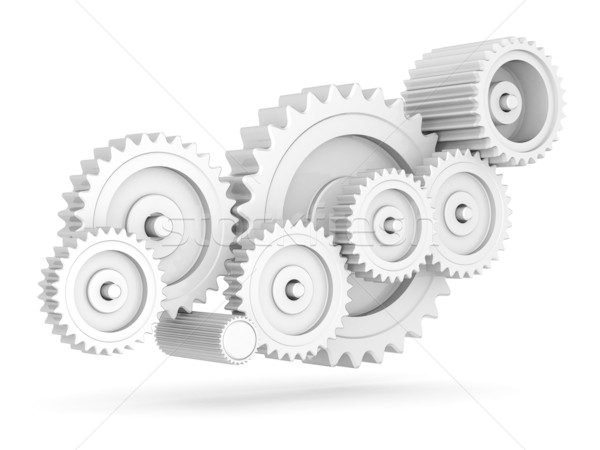 Mecânico engrenagens isolado branco negócio tecnologia Foto stock © mastergarry
