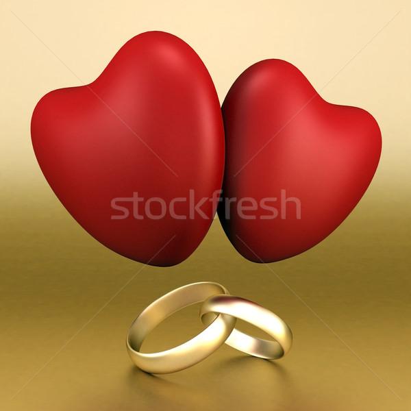 Quadro anéis de casamento belo imagem ouro família Foto stock © mastergarry