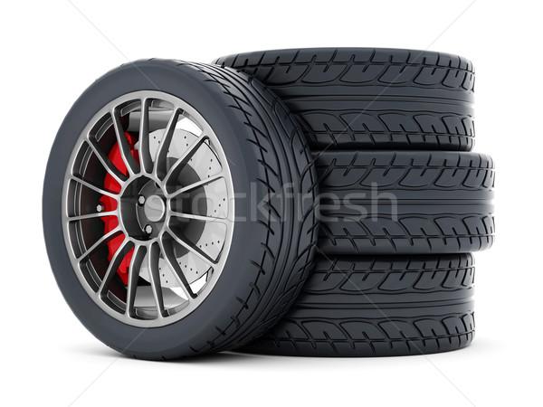 Preto esportes rodas esportes roda branco Foto stock © mastergarry