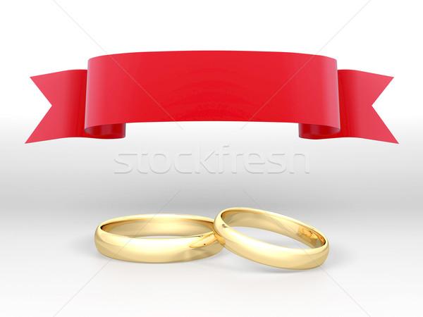 Quadro anéis de casamento belo imagem dois ouro Foto stock © mastergarry