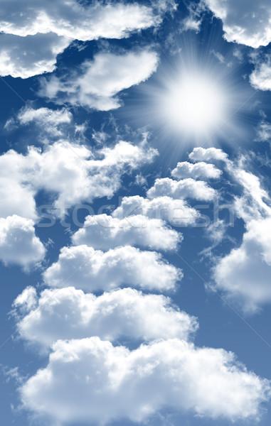Céu foto nuvens sol belo blue sky Foto stock © mastergarry