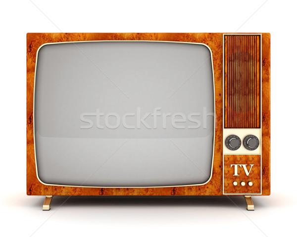 古い テレビ 画像 白 テレビ 背景 ストックフォト © mastergarry