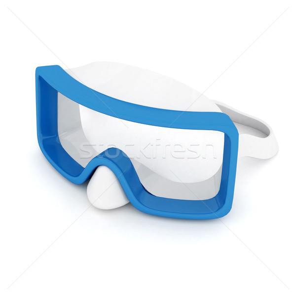 Stockfoto: Blauw · masker · geïsoleerd · witte · strand · water