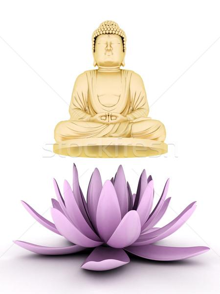 Ouro estátua buda imagem flor Foto stock © mastergarry