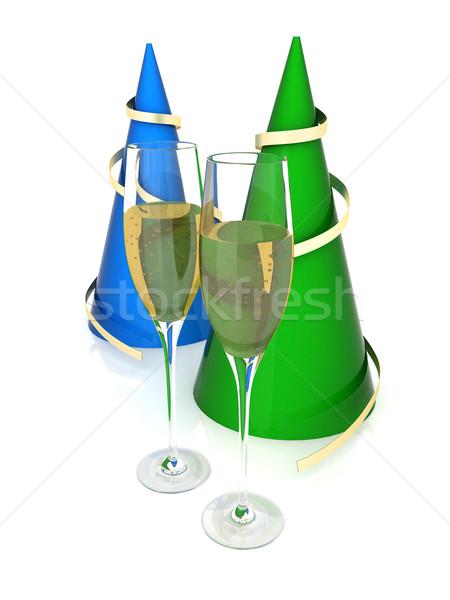 Imagem festa feliz champanhe natal Foto stock © mastergarry