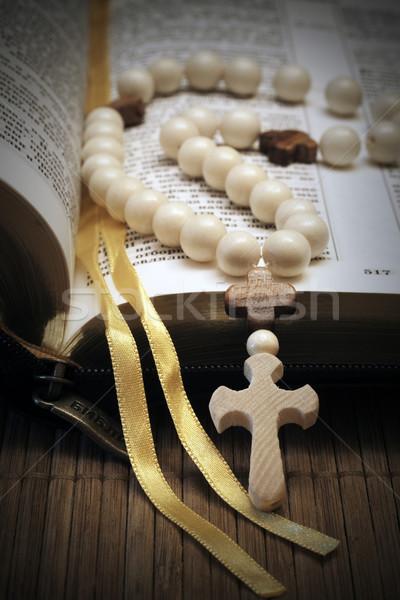 Heilig bijbel foto kruis houten bruin Stockfoto © mastergarry