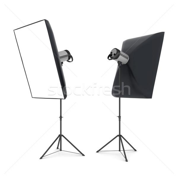 Foto stock: Estúdio · flash · isolado · branco · moda · luz