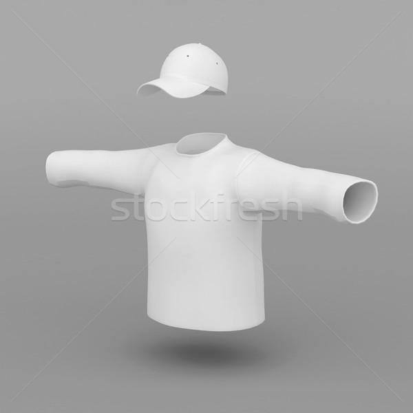 Branco boné suéter cinza corpo homens Foto stock © mastergarry