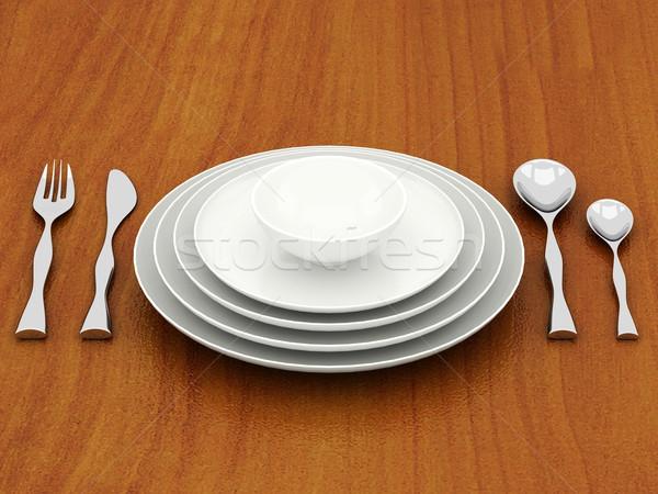 Belo talheres restaurante jantar serviço Foto stock © mastergarry