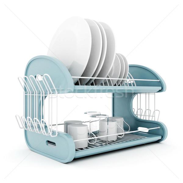 Temizlemek bulaşık yalıtılmış beyaz plaka yemek Stok fotoğraf © mastergarry