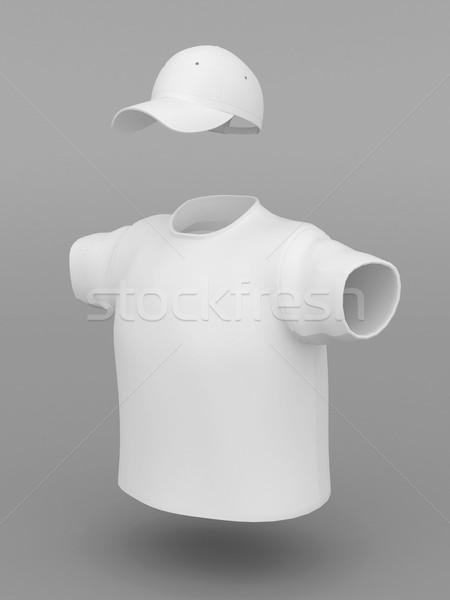 Branco boné tshirt cinza corpo projeto Foto stock © mastergarry