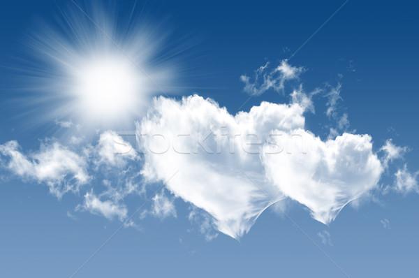 Stockfoto: Hemel · foto · wolken · zon · mooie · blauwe · hemel