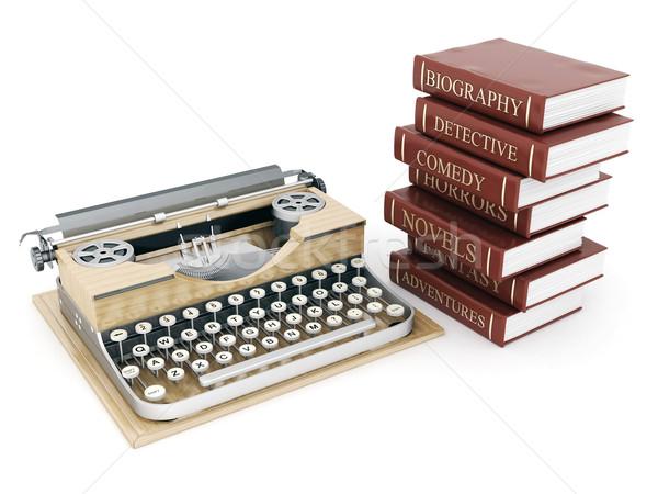 Vintage máquina de escribir libros blanco oficina libro Foto stock © mastergarry