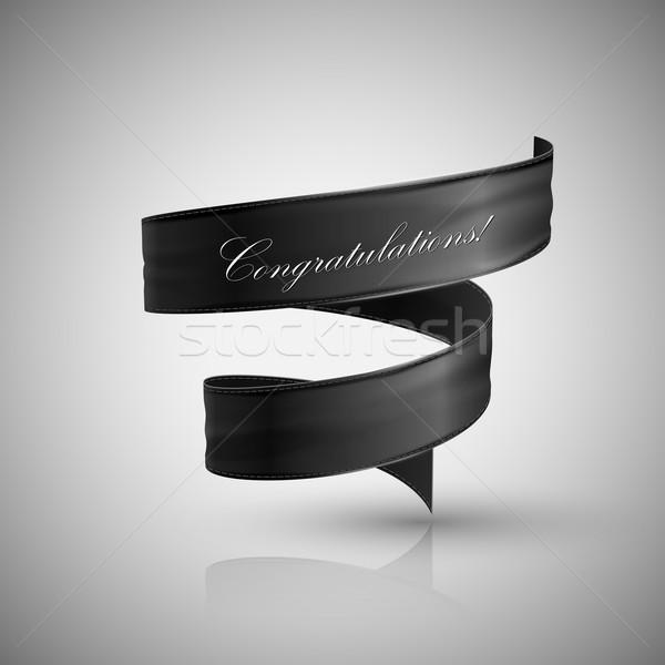 vector illustration of black textile ribbon. Stock photo © maximmmmum