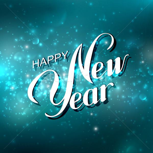Feliz ano novo férias azul brilhante fundo fogos de artifício Foto stock © maximmmmum
