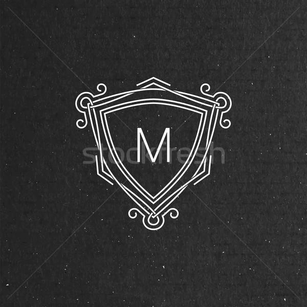 Vector monogram frame lijn kunst Stockfoto © maximmmmum