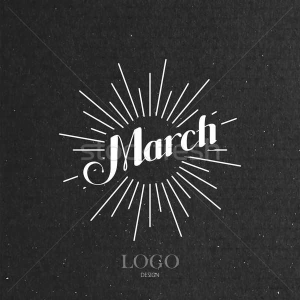 illustration of handwritten March retro label with light rays Stock photo © maximmmmum
