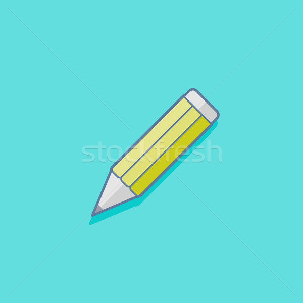 simple vector illustration with a pencil. education icon flat design Stock photo © maximmmmum