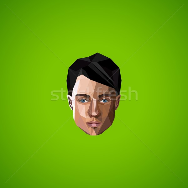 illustration with caucasian man face in low-polygonal style. beauty or fashion icon Stock photo © maximmmmum