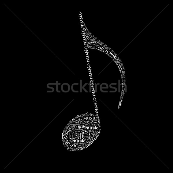 vector music illustration of a music note sign made of different fonts. typographical or lettering c Stock photo © maximmmmum