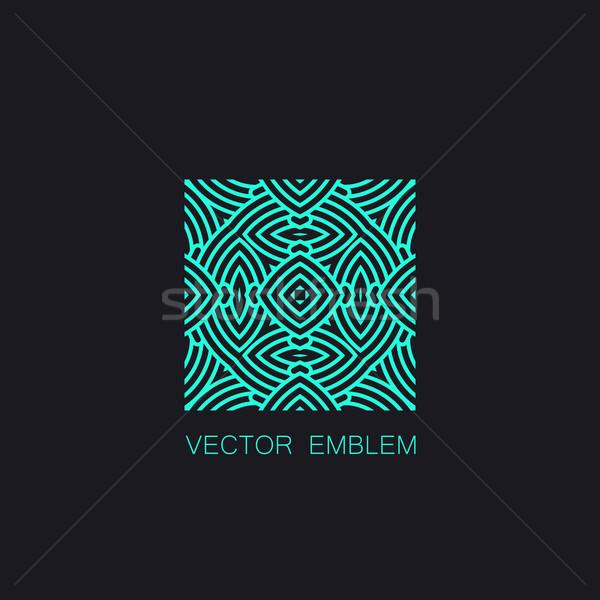 Turkoois embleem vector monogram teken Stockfoto © maximmmmum