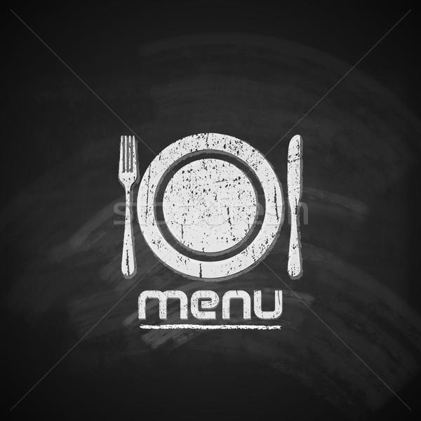 Foto stock: Vintage · quadro-negro · menu · projeto · prato · garfo