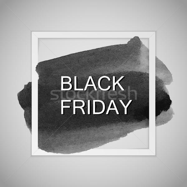 Black friday label aquarel vlek verkoop Stockfoto © maximmmmum