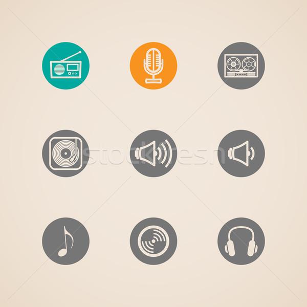 set of flat vector musical icons  Stock photo © maximmmmum