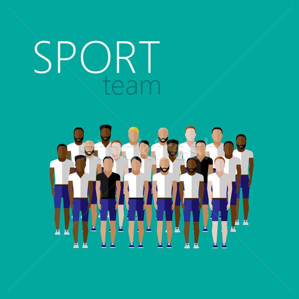vector flat illustration with men group or community wearing sport uniform. sport team  Stock photo © maximmmmum