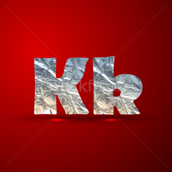 vector set of aluminum or silver foil letters. Letter K Stock photo © maximmmmum