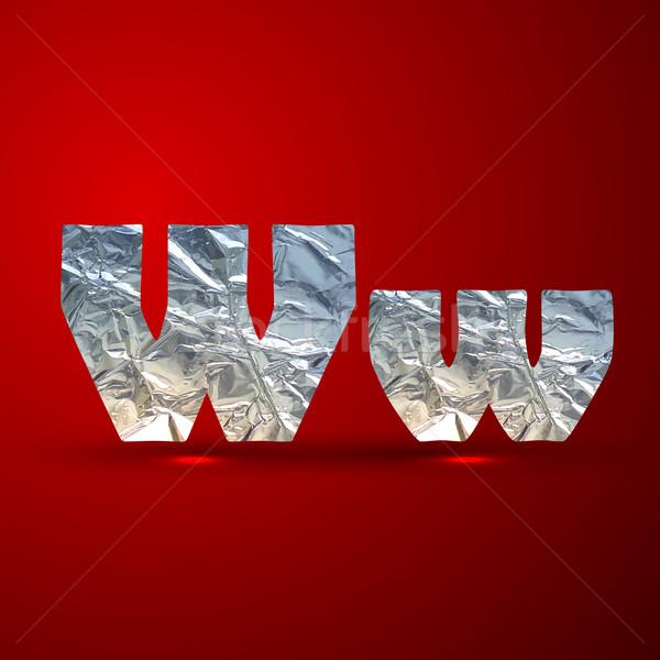 Vetor conjunto alumínio prata cartas letra w Foto stock © maximmmmum