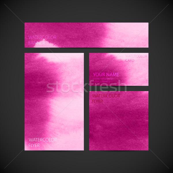 Сток-фото: набор · вектора · корпоративного · личности · розовый · краской