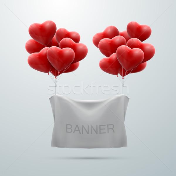 Fehér textil szalag szív léggömbök vektor Stock fotó © maximmmmum