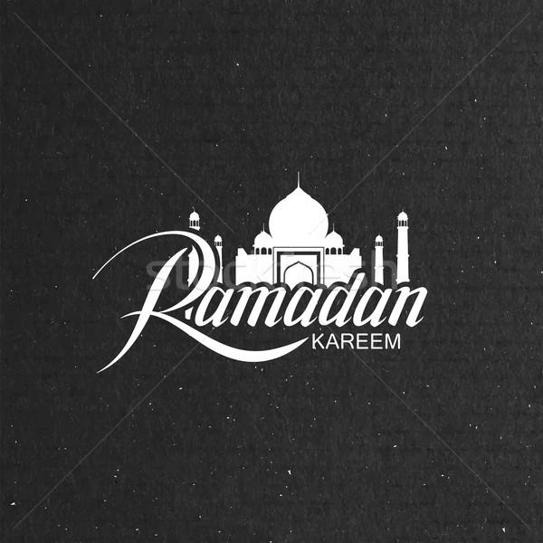 Ramadán vektor tipográfiai illusztráció kézzel írott címke Stock fotó © maximmmmum