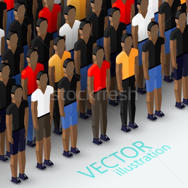 ベクトル アイソメトリック 3次元の図 コミュニティ 群衆 ストックフォト © maximmmmum